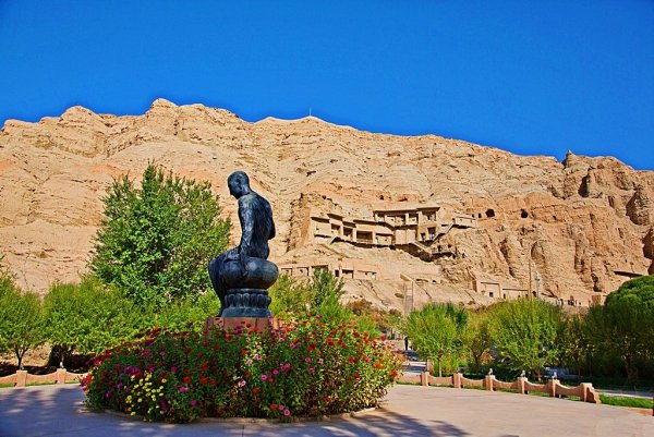Located on the cliff of Mingwutage Mountain in Baicheng County, Xinjiang the Kizil Cave complex.jpg